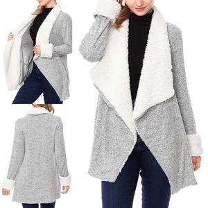 NEW Faux Sherpa Wide Lapel Cardigan w/ Pockets